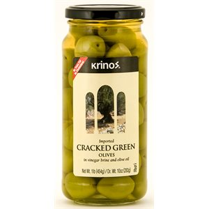 KRINOS Green Cracked Olives 1lb